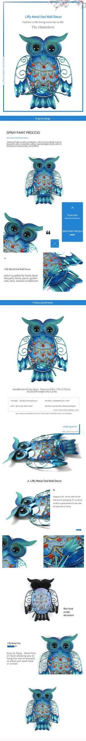 Metal Owl Home Decor for Garden