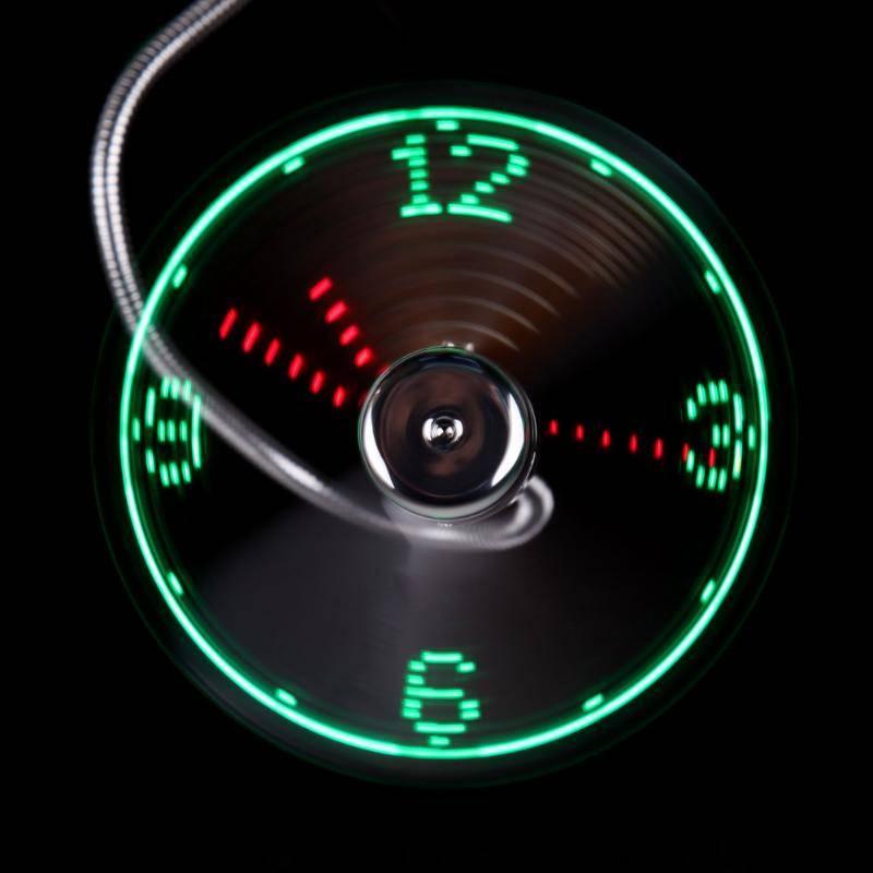 Hand Mini USB Fan portable Flexible Goose neck LED Clock real Time Display